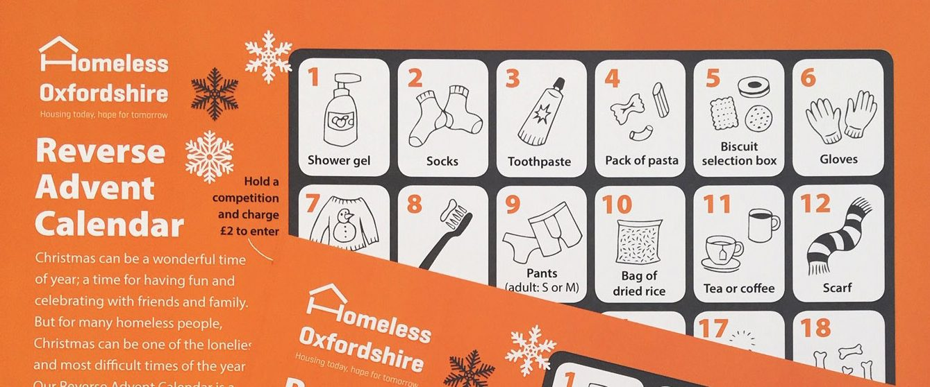 Snapshot of Homeless Oxfordshire's Reverse Advent Calendar. Orange layout with white and grey snowflakes surround the grey grid featuring illustrations in 24 boxes, counting down to Christmas
