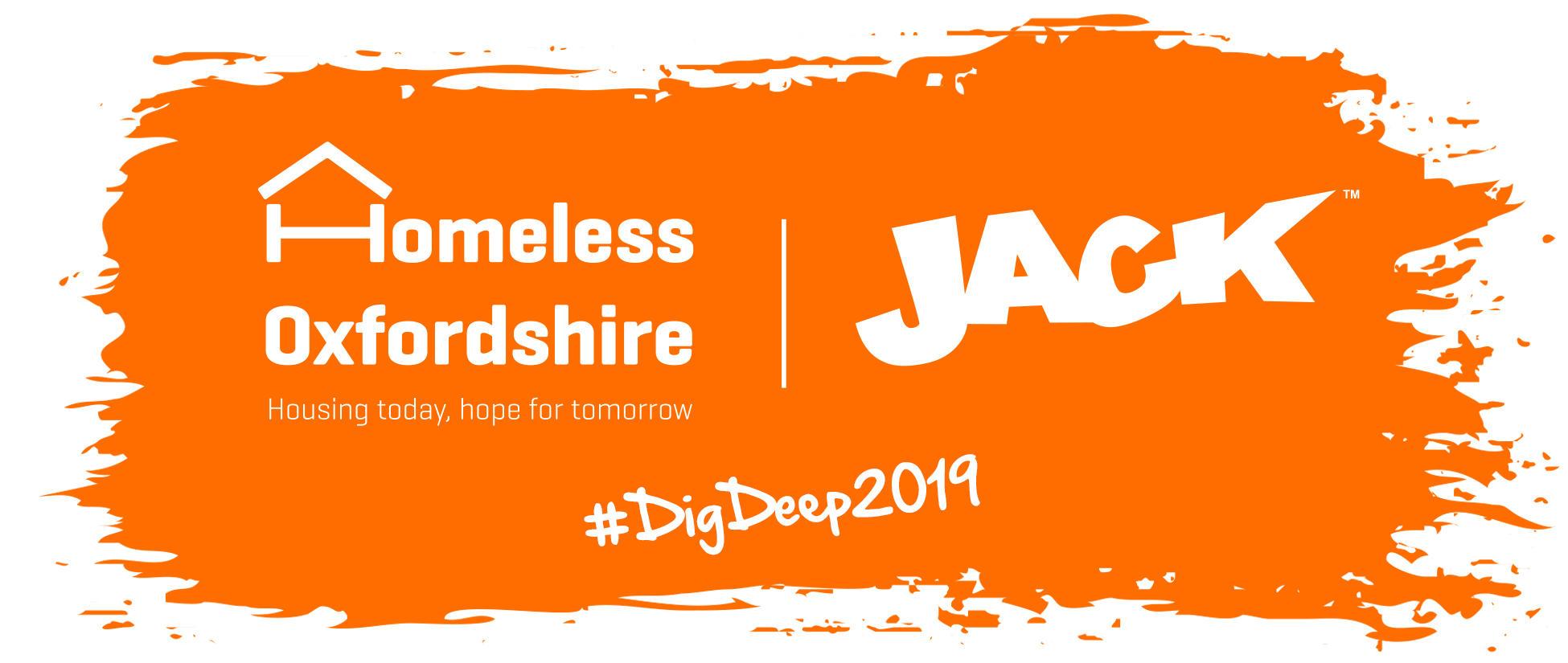 Homeless Oxfordshire & Jack 'Dig Deep 2019' logo