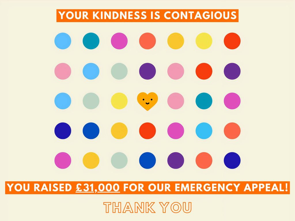 "Image says ""Your kindness is contagious, you raised £31,000 for our emergency appeal - thank you"""