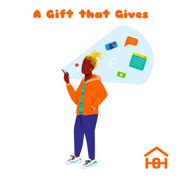 A gift that gives - woman with phone - Homeless Oxfordshire cards