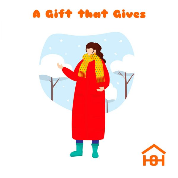 A gift that gives - woman in coat and scarf - Homeless Oxfordshire cards