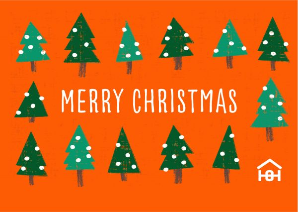 Orange Christmas card with Christmas trees and 'Merry Christmas' text | Homeless Oxfordshire shop