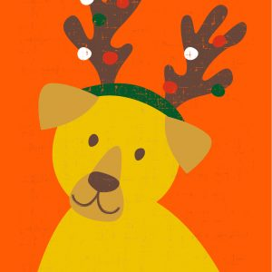 Orange Christmas card with dog wearing reindeer antlers | Homeless Oxfordshire shop