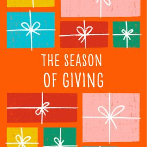 Orange Christmas card with Christmas presents and 'The Season of Giving' text | Homeless Oxfordshire shop