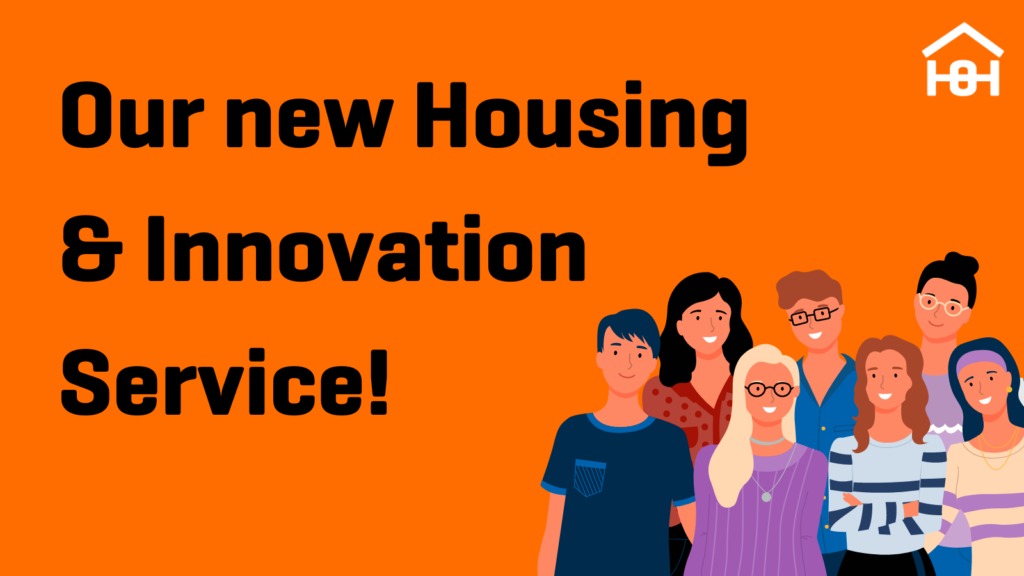 Our New Housing and Innovation Service text with group of cartoon people to the right