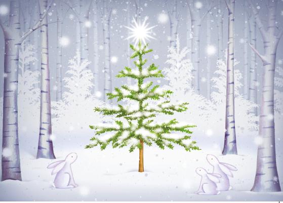 Christmas tree and rabbits Christmas card