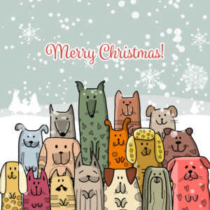 Merry Christmas dogs and cats Christmas card