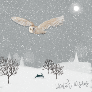 Owl flying in winter Christmas card