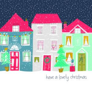 Winter houses Christmas card