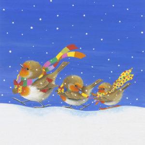 Playful robins Christmas card