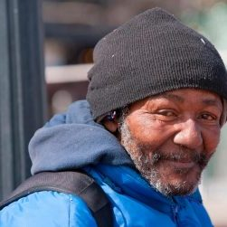 Homeless man smiling after help from Homeless Oxfordshire